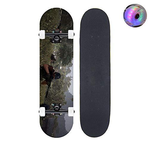 LCSA Skateboards Komplette 32 x 8, 7-lagige Maple Double Kick Concave Standard und Tricks Skateboards für Kinder und Anfänger Tolles kreatives Geschenk A4