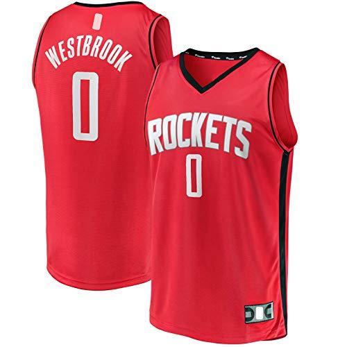 GSDAA Camiseta de baloncesto Russell Westbrook Custom Houston Clothing Rockets Traning Jersey #0 Fast Break Player Jersey Rojo - Icono Edition-M