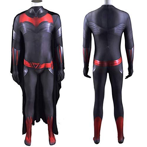NVHAIM Batwoman Black Battle Anzug, Erwachsene Kinder Spinne Capes Cosplay Kostüm 3D Druck Lycra Stretch Bodysuit Kinder Leistung Engen Overall-Set,Kid L