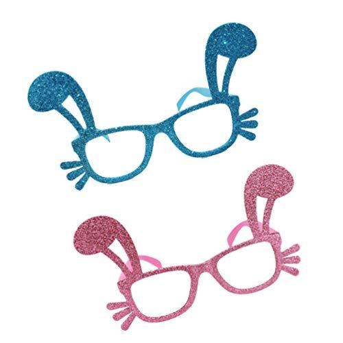 TOYMYTOY 2 Piezas Gafas de Fiesta de Pascua Glitter Bunny Ear Eye Gafas Divertidas Gafas de Fiesta de Pascua Foto Prop Decoracin para Fiesta Temtica de Animales Cosplay Color Aleatorio