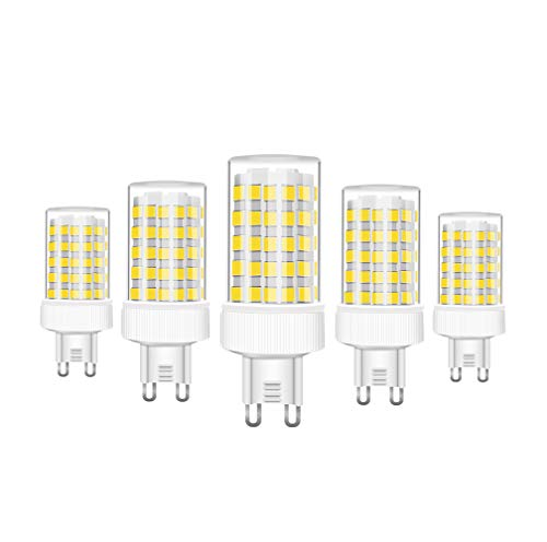RANBOO G9 LED Lampe 10w Ersatz 80W Halogenlampen, 800LM, Kaltweiß 6000K, AC 220-240V, LED Birnen für Kronleuchter, Wandlampe, Kühlschrank und Dunstabzugshaube, Nicht Dimmbar, 5er Pack