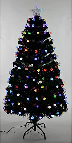 Powzz ornament 3ft LED Fibre Optic Christmas Tree Green Pre-Lit Xmas Diamonds Home Decor 90cm