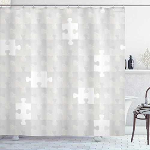 ABAKUHAUS Grau Duschvorhang, Puzzle Spiel Hobby Thema, mit 12 Ringe Set Wasserdicht Stielvoll Modern Farbfest und Schimmel Resistent, 175x220 cm, Grün
