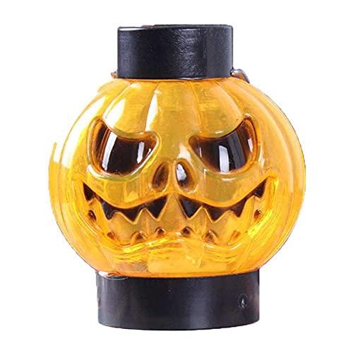 nanxing 2 piezas de Halloween portátil aterrador cara calabaza lámpara seguridad no vela calabaza decoración lámpara