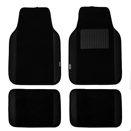 FH Group Black Universal Fit Carpet Floor Mats with Faux Leather for Cars, coupes, Small suvs F14408BLACK