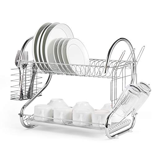 Glotoch Dish Drying Rack 2 Tier Dish Rack with Utensil Holder Cup Holder and Dish Drainer for Kitchen Counter Top Plated Chrome Dish Dryer Silver 165 x 10 x 15 inch