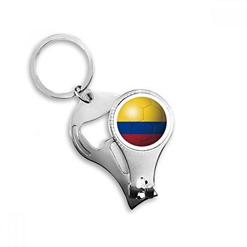 Colombia Nationale Vlag Voetbal Sleutelhanger Ring Teen Nagel Clipper Snijder Schaar Gereedschap Kit Flesopener Gift