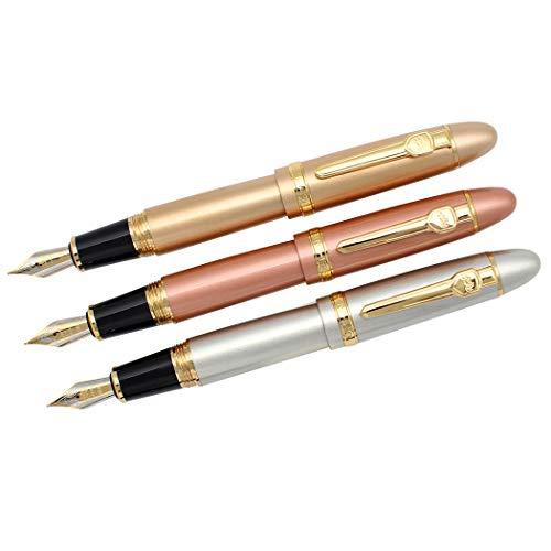 Zoohot 3 pezzi jinhao 159 penne stilografiche pennino medio finiture dorate grande penna pesante firma commerciale penna per la raccolta di regali (oro rosa, oro, argento)