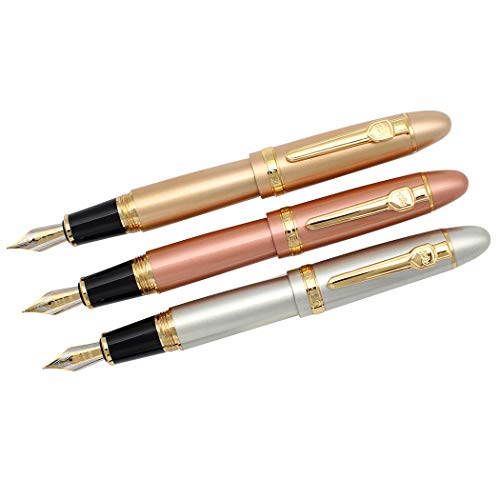 Zoohot 3 PCS Jinhao 159 Fountain Pens Medium Golden Trim Big Heavy Pen & Refill Ink Converter Business Signature Gift Collection Pen (rose gold, gold, silver)