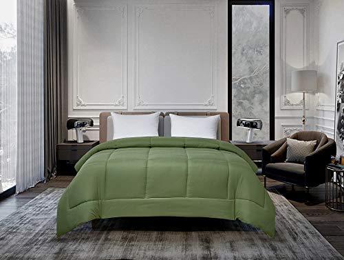 Twin Reversible Microfiber Down Alternative Comforter Olive/Sage - Blue Ridge Home Fashions