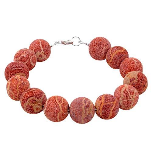 Schmuck-Krone - Edelsteinschmuck Bracciale in Corallo Naturale 14 mm Sfera con pori in Argento 925 Rosso-Arancione