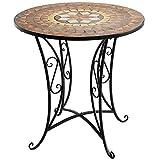 Wohaga® Mosaik Gartentisch rund Ø70x71cm Brauntöne Mosaiktisch Beistelltisch Bistrotisch Balkontisch Eisen Keramik