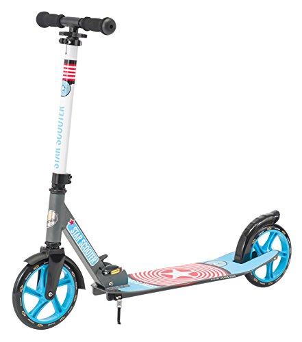 Star-Scooter Aluminium Kickscooter Roller Kinderroller Tretroller für Jungen und Mädchen ab 6-7 Jahre | Big 205mm Wheel mit XXL Trittbrett Scooter für Kinder und Erwachsene | Grau & Blau
