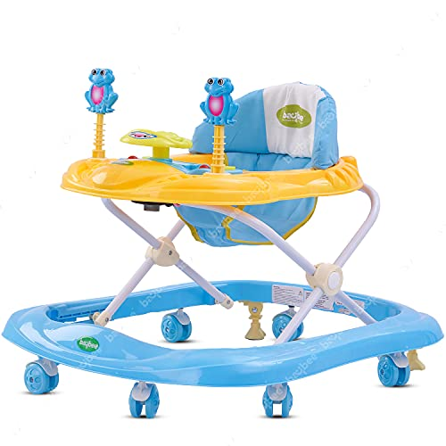 BAYBEE Smart Witty Plastic Round Baby Walker with Adjustable Height and Musical Toy Bar Rattles and Ultra Soft Seat for Kids (Blue, 6 Months to 2 Years)