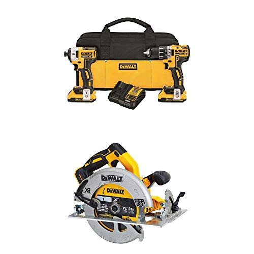 """DEWALT DCK283D2 20V MAX XR Compact Cordless Drill/Driver & Impact Driver Combo Kit with DCS570B 7-1/4"""" (184mm) 20V Cordless Circular Saw with Brake (Tool Only)"""