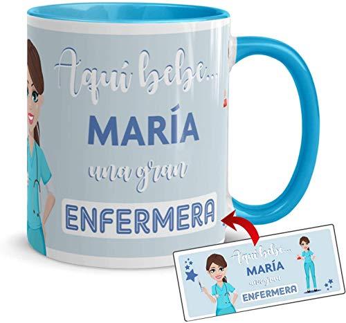 Kembilove Taza Desayuno – Tazas Personalizadas con Nombre de Profesiones – Tazas Originales para Regalar – Taza Café Aquí Bebe una Enfermera – Regalos Originales