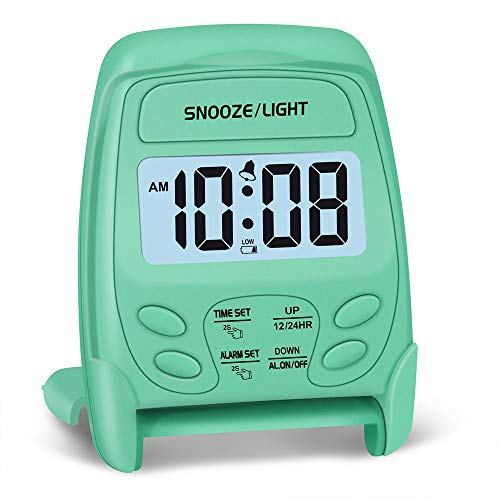 Peakeep Small Foldable Battery Operated Alarm Clock, Travel Digital Easy Operation Alarm Clock(Mint)