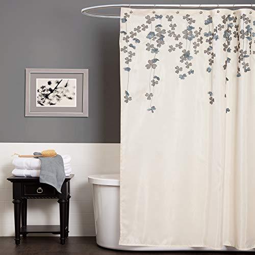Lush Decor A00516Q12 Drop Shower Curtain, Ivory/Blue