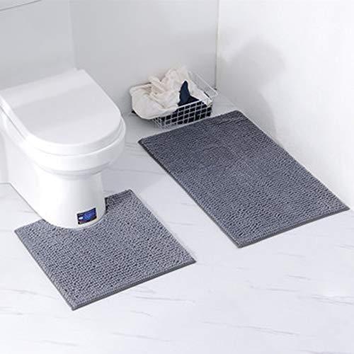 Orumrud Badematten Set 2 50cm*80cm rutschfest Waschbar Badteppich 50cm*50cm U-förmig Toilette Badvorleger für Badezimmer (Grau, 50cm*50cm+50cm*80cm)