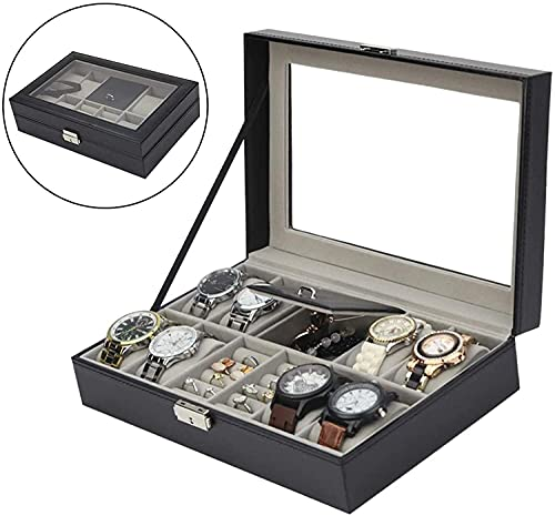 WXQJX Reloj De Almacenamiento Caja De Relojes For Hombres - 8 Ranura Reloj Mostrar Organizador, Hebilla Metálica For Relojes De Joyería De Hombres