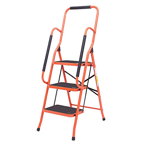 LUISLADDERS 3 Step Ladder Tool Ladder Folding Steel Frame Non-Slip Safety Padded Handrails Large Area Pedals (330lbs)