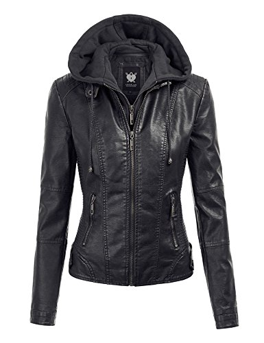 Black Hooded Women's Motorcycle Jacket