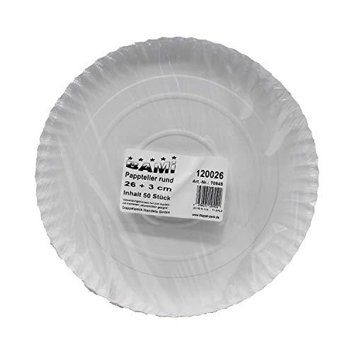 BAMI 50 Stück Pappteller Einwegteller runde Teller für Grillfest, Geburtstag oder Party, biologisch abbaubare Pappe (26 cm + 3 cm rund)