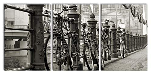 Fiets in AmsterdamXXL canvasbeeld 3 deel | 210x100cm volledige maatregel | Wanddecoraties | Kunstdruk