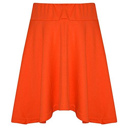 A2Z 4 Kids A2Z 4 Kids Mädchen Rocks Kinder Schule Mode Sommer - Plain Skater Skirt Neon Orange 9-10