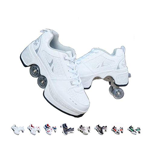 Roller Skates for Women Outdoor,Parkour Shoes with Wheels for Girls/Boys,Kick Rollers Shoes Retractable Adults/Kids,Quad Roller Skates Men,Unisex Skating Shoes Recreation Sneakers,White-6US