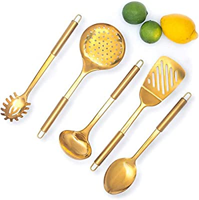 Brass / Gold Cooking Utensils for Modern Cooking and Serving, Gold Utensils - Stainless Steel Cooking Utensils 5 PCS-Gold Serving Spoon, Gold Soup Ladle, Pasta Serving - Gold Cooking Utensils Set
