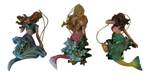 "Kurt Adler 4.5"" Mermaid Ornament, Set of 3"