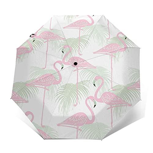fepeng Palm Avestruz paraguas automático de tres pliegues unisex impreso paraguas manual paraguas portátil, Palma Avestruz, Taille unique