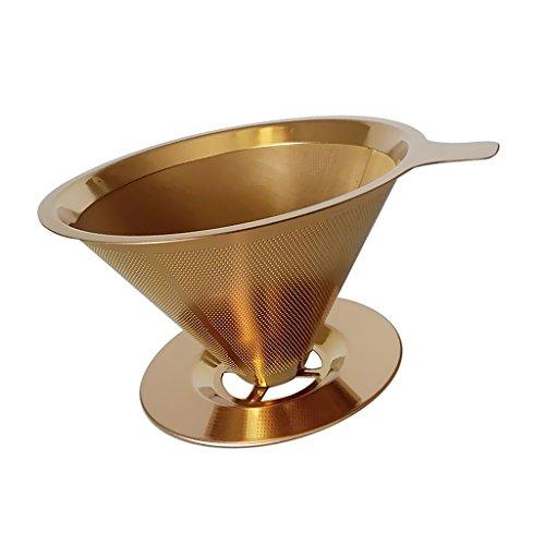 perfk Filtro de Café Permanente Colador Cónico Reutilizable Sin Papel Acero Inoxidable de 125 Mm Dorado