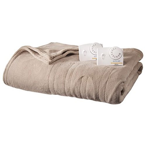 Biddeford MicroPlush Analog Queen Electric Blanket, Taupe