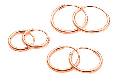 Three Pairs Sterling Silver Small Endless Hoop Earrings for Cartilage, Nose or...