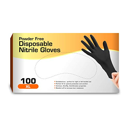 Nitrile Gloves, Disposable Gloves, Comfortable, Powder Free, Latex Free | 100 Pcs (Black, Extra Large)