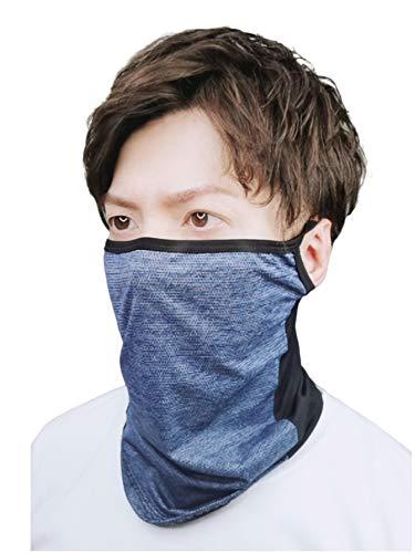 AthleX フェイスカバー ランニングマスク 夏用 ひんやり 冷感 UVカット 息苦しくない 通気 メッシュ 男女兼用 (ライトネイビー, 立体F)