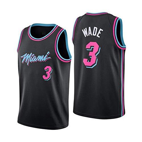 JINHAO Herren Basketball Trikot NBA Miami Heat # 3 Dwyane Wade Mesh Basketball Swingman Trikot (Schwarz5, M)