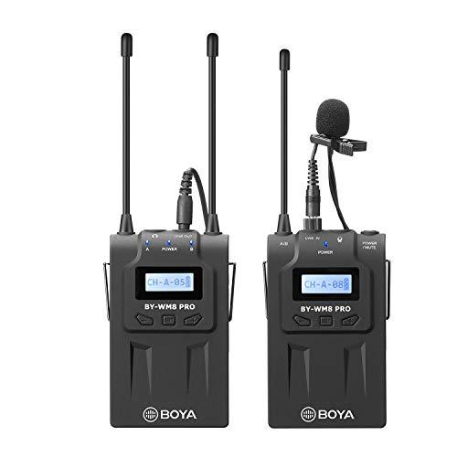 【法人割引あり】【技適マーク認証】BOYA BY-WM8 PRO K1 使用UHFチャネル、ワイヤレスピンマイクシステム ステレオ/モノラルモード切替 カメラマイク 内蔵マイク/外部マイク付属 50M伝送距離 1台送信機・1台受信機 用于スマホ、カメラ、キヤノンカメラ、ニコンカメラなどに対応YouTube、 インタビュー、映画制作、ブログ用【1年間保証】 (腰掛け式, TX-RX)