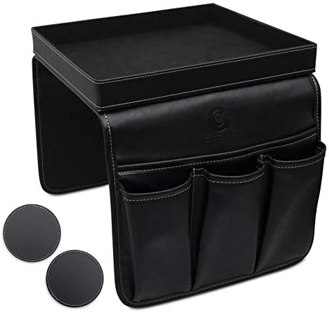 GLOCHYRA Sofa Armrest Organizer PU Leather Remote Control Holder for Recliner 5 Pockets Armchair product image