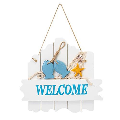 Garneck Carteles de Puerta de Bienvenida Pared Colgante de Madera Tablero de Cartel de Bienvenida para Barco de Playa Océano Decoración de Estilo Mediterráneo Placa Adornos para El Hogar
