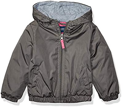 Cherokee - Kid's Outerwear Girls' Big Polar Fleece Lined Windbreaker, Grey, 7/8
