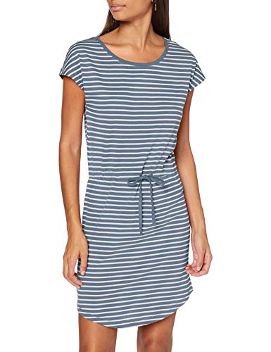 ONLY Damen ONLMAY Life S/S Dress NOOS Kleid, Stripes:Thin Stripe Cloud Dancer Blue Mirage, L