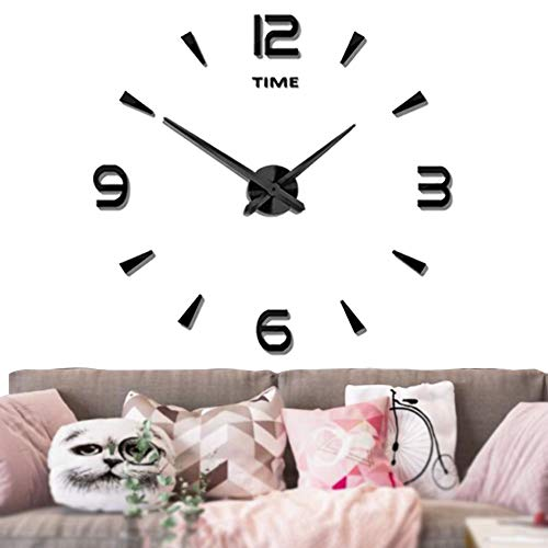 Mintime Large Wall Clock Battery Operated DIY Wall Clock for Modern Decorative Living Room/Office (2-Year Warranty) (Black-015)