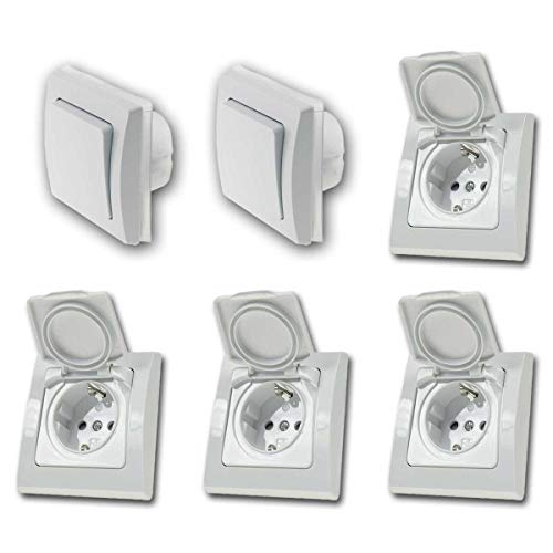 Juego de interruptor + enchufe'Cuarto húmedo L', blanco, 6 piezas, IP44, serie de interruptores DELPHI, empotrado