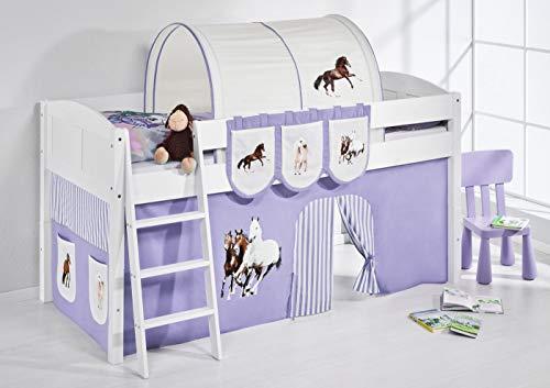 Lilokids Spielbett IDA 4106 Pferde Lila Beige-Teilbares Systemhochbett weiß-mit Vorhang Kinderbett, Holz, 208 x 98 x 113 cm