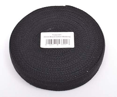 Trimit 10m Rollo de 30mm Negro Correas de algodón