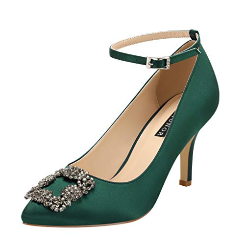 ERIJUNOR E1492M Women Comfort Mid Heel Pumps Pointy Toe Rhinestones Brooch Evening Prom Wedding Shoes Green Size 9