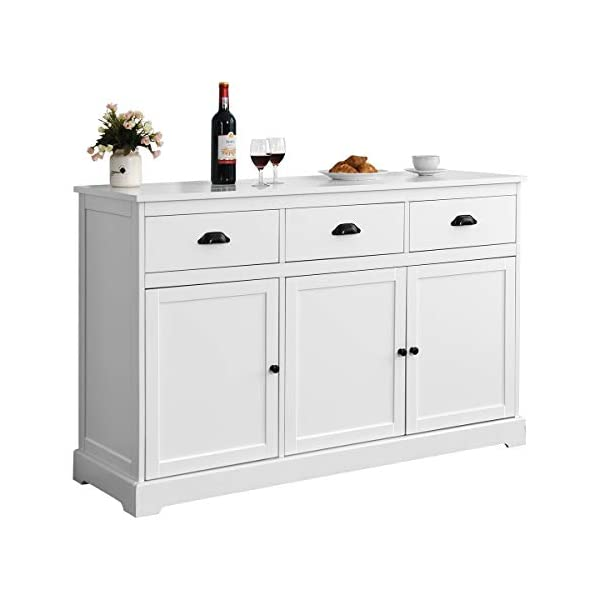 Giantex Sideboard Buffet Server Storage Cabinet Console Table Home Kitchen Dining Room Furniture Entryway Cupboard with 2 Cabinets and 3 Drawers Adjustable Shelves, White